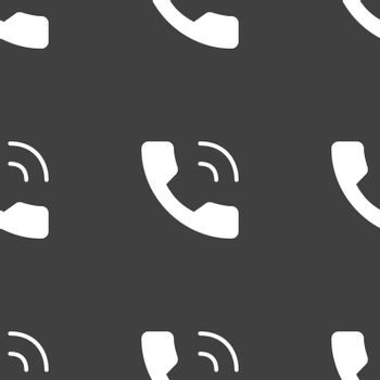 Phone icon sign. Seamless pattern on a gray background. Vector illustration