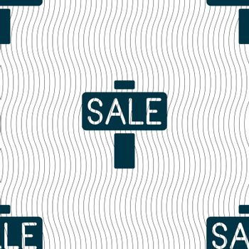 Sale, price tag icon sign. Seamless pattern with geometric texture. Vector illustration