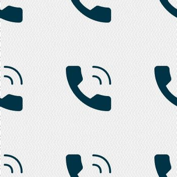 Phone icon sign. Seamless pattern with geometric texture. Vector illustration