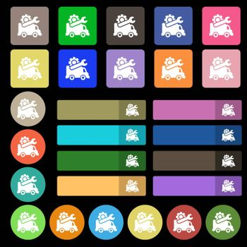 Computer repairs icon sign. Set from twenty seven multicolored flat buttons. Vector illustration
