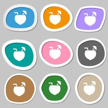Coconut Cocktail icon symbols. Multicolored paper stickers. Vector illustration