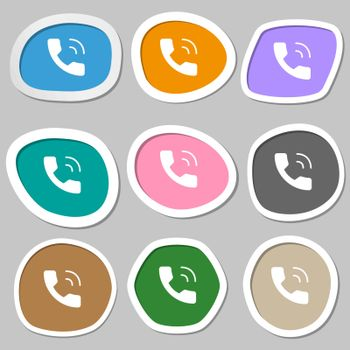 Phone icon symbols. Multicolored paper stickers. Vector illustration