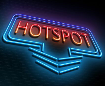 Illustration depicting an illuminated neon sign with a hotspot concept.