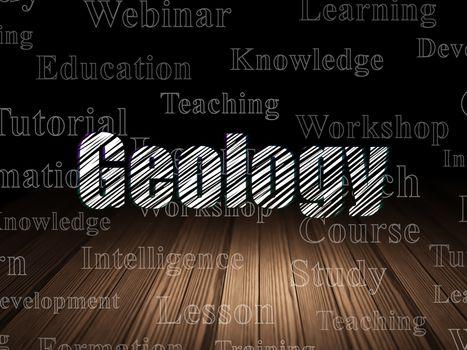 Education concept: Geology in grunge dark room