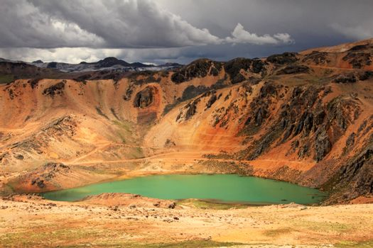 Colorful mountains in peruvian andes