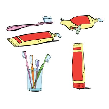 Retro set of dental hygiene, toothpaste and toothbrush. Vector isolated illustration on a white background