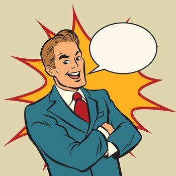 Successful retro businessman on a comic strip background