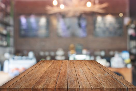 Brown table top with blurred cafe. product display template