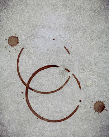 Beverage background and Coffee menu design . Coffee ring on concrete background . Coffee stains on grunge concrete background  with copy space flat lay.