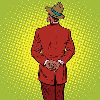 Retro man is back, pop art vector. African American people