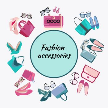 Postcard template of woman's accessories, bags, shoes and glasses. Fashion shopping frame background with women shoes bags and accessories vector illustration