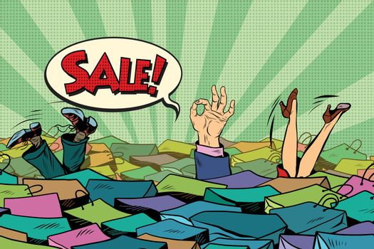 The season of holiday sales. Sea shopping, pop art retro vector
