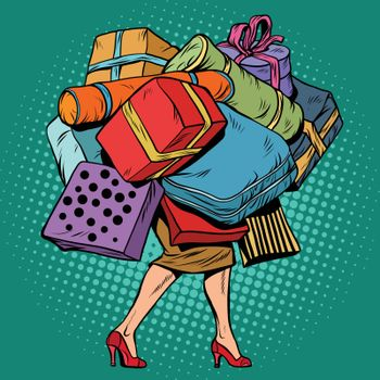Woman and a lot of holiday shopping, sales discounts