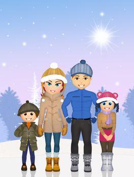 illustration of joyful family in the snow