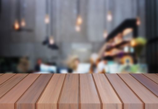 Luxury brown table top wooden with blurred background. product display template