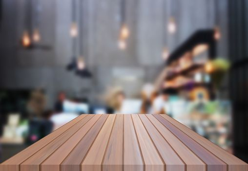 Luxury table top wooden with blurred background. product display template