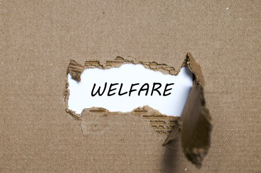 The word welfare appearing behind torn paper