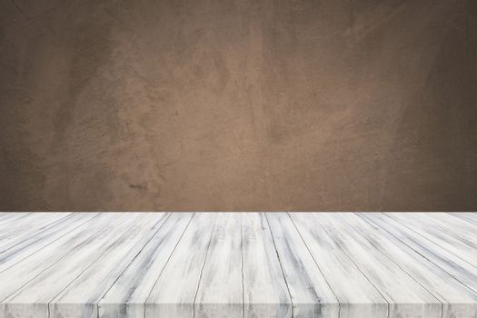 Empty white table top with concrete wall background. For product display