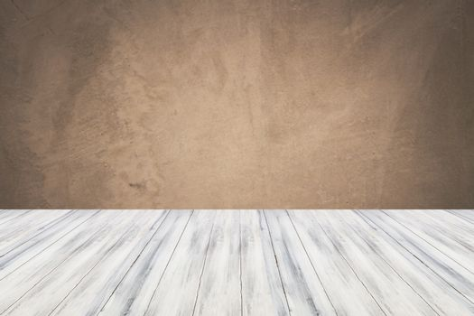 Empty white top wooden table with concrete wall background. For product display