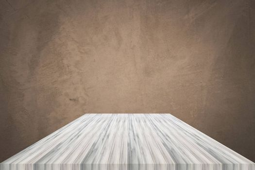 Empty white wooden table top with concrete wall background. For product display