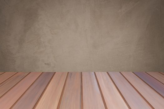 Empty wooden table top with concrete wall background. For product display