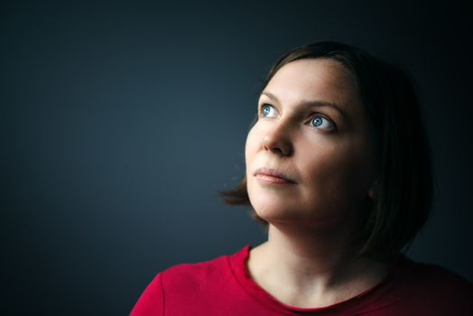 Hope and expectations, beauty portrait of young adult woman