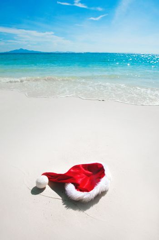 Santa hat on beach