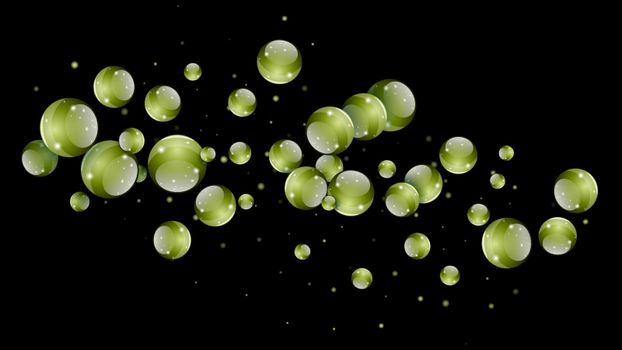 Abstract futuristic green balls hanging in space over a black background