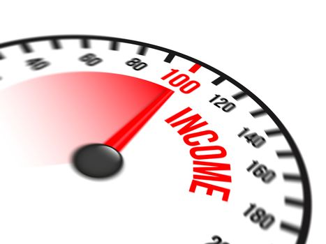 Illustration of speedometer with red arrow pointing to a hundred percent income on white background