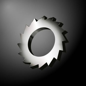 Metal gear with sharp blades like a circular saw over the dark background. Vector illustration