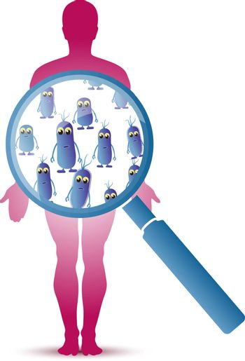 Abstract funny intestinal colon bacillus under the magnifying glass over the man silhouette. Vector illustration