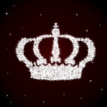 Shining vector royal crown made of sparks on maroon background