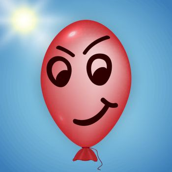 Illustration of the red balloon looking evil over a blue sky and sun background