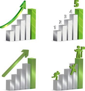 3d vector charts with grey and green metallic and glass bars, arrows ,numbers and icons of men clambering up to success.