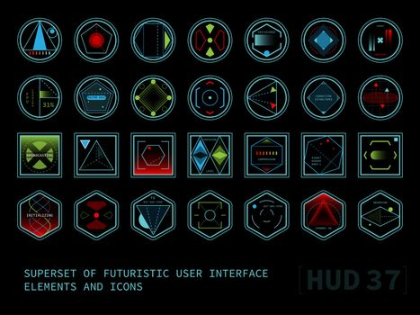 Set of conceptual futuristic display interface elements. Round, square and hexagonal shaped icons.