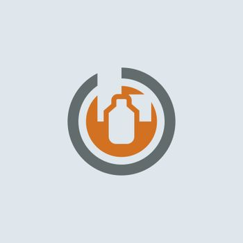 Gray-orange wide range of medical drugs packaging round web icon