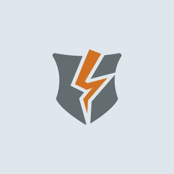 Gray-orange broken shield as a symbol of broken protection round web icon