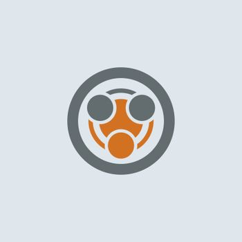 Gray-orange stylized infection symbol round web icon