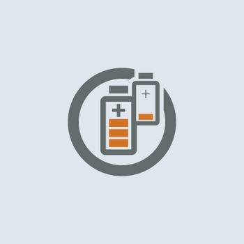 Gray-orange two batteries with low and high charge round web icon