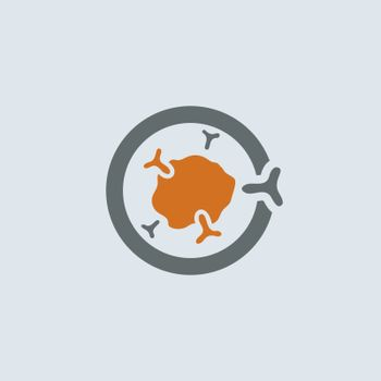 Gray-orange symbolic immunoglobulin molecule round web icon