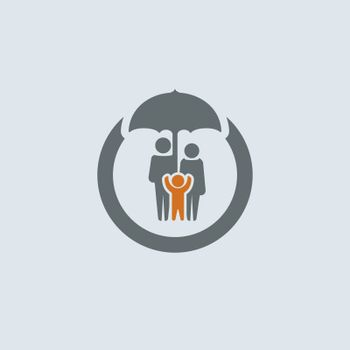 Gray-orange parents with child under umbrella round web icon