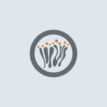 Gray-orange mucous cells with allergens round web icon