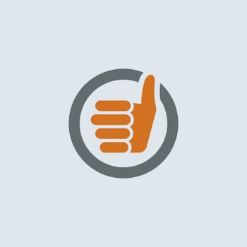 Gray-orange thumbs up sign round web icon