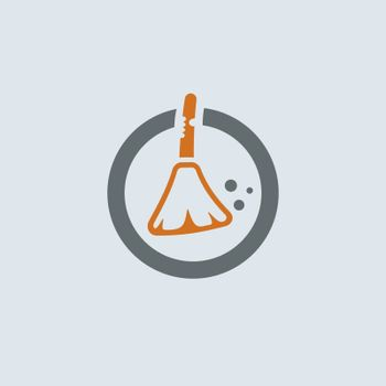 Gray-orange broom and garbage round web icon