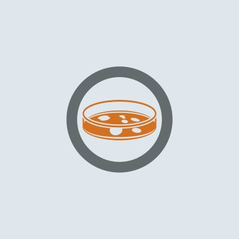 Gray-orange Petri dish with bacterium round web icon