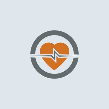 Gray-orange heart with cardiogram round web icon