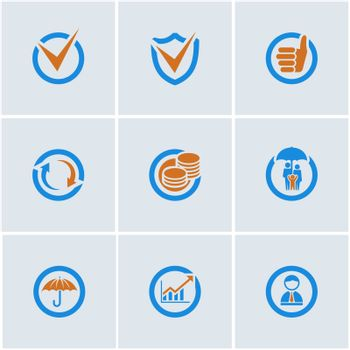 Blue-Orange vector set of financial business web icons