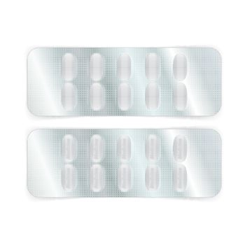 Oval white pills in a blister pack. Vector illustration