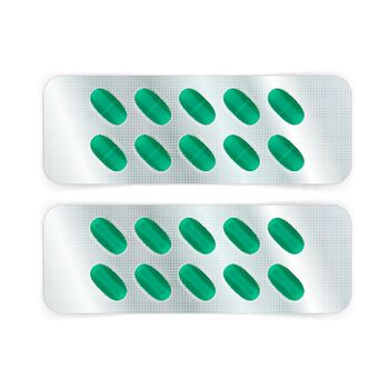 Oval green pills in a blister pack. Vector illustration