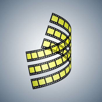 Three black and yellow film strips twisted in space. Vector illustration